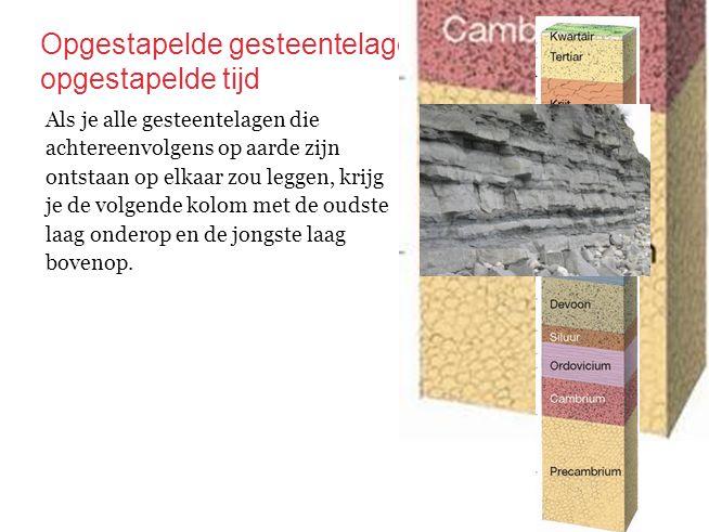 Opgestapelde gesteentelagen, opgestapelde tijd Als je alle gesteentelagen die achtereenvolgens op aarde zijn ontstaan op elkaar zou leggen, krijg je d