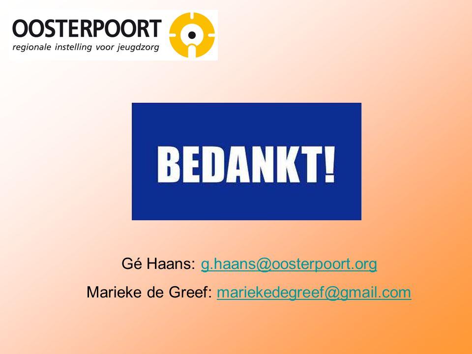 Gé Haans: g.haans@oosterpoort.orgg.haans@oosterpoort.org Marieke de Greef: mariekedegreef@gmail.commariekedegreef@gmail.com