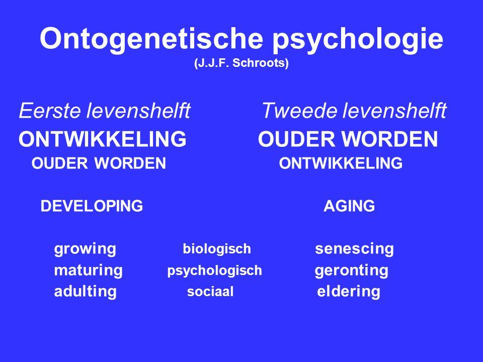 Ontogenetische psychologie (J.J.F. Schroots) Eerste levenshelft Tweede levenshelft ONTWIKKELING OUDER WORDEN OUDER WORDEN ONTWIKKELING DEVELOPING AGIN
