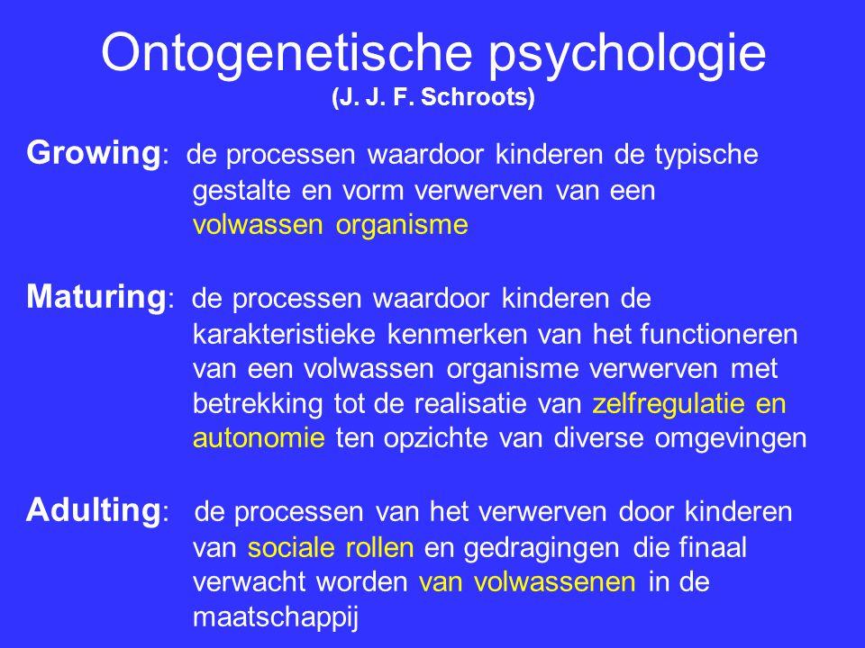 Ontogenetische psychologie (J. J. F. Schroots) Growing : de processen waardoor kinderen de typische gestalte en vorm verwerven van een volwassen organ