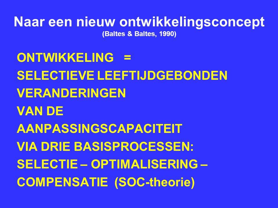 Naar een nieuw ontwikkelingsconcept (Baltes & Baltes, 1990) ONTWIKKELING = SELECTIEVE LEEFTIJDGEBONDEN VERANDERINGEN VAN DE AANPASSINGSCAPACITEIT VIA