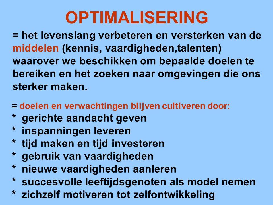 OPTIMALISERING = het levenslang verbeteren en versterken van de middelen (kennis, vaardigheden,talenten) waarover we beschikken om bepaalde doelen te