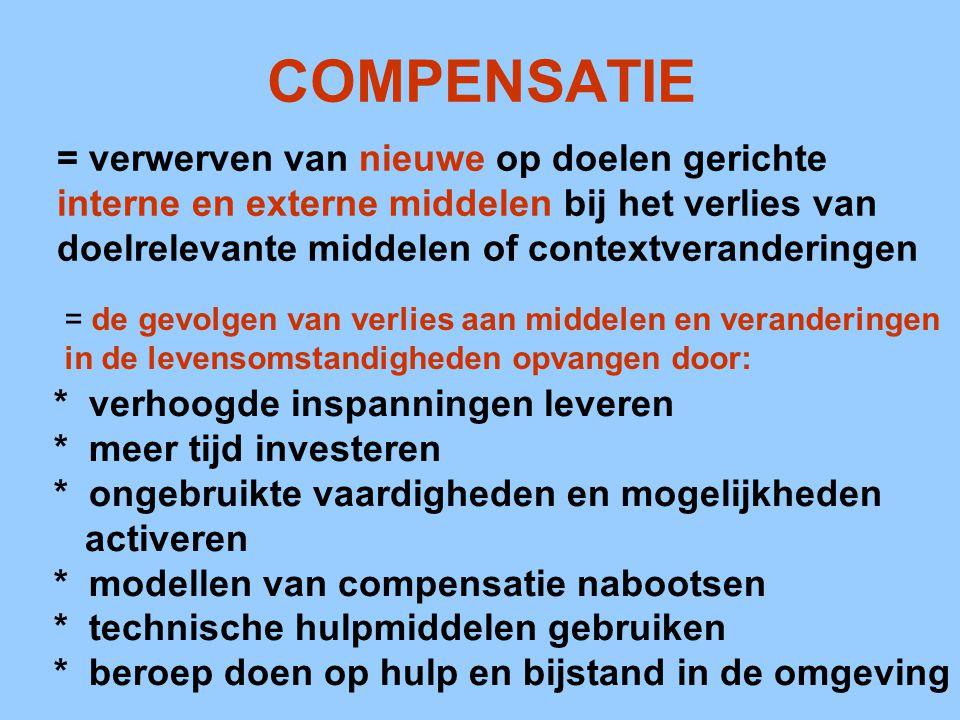 COMPENSATIE = verwerven van nieuwe op doelen gerichte interne en externe middelen bij het verlies van doelrelevante middelen of contextveranderingen =