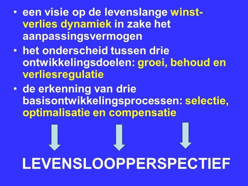 LEVENSLOOPPERSPECTIEF een visie op de levenslange winst- verlies dynamiek in zake het aanpassingsvermogen het onderscheid tussen drie ontwikkelingsdoe