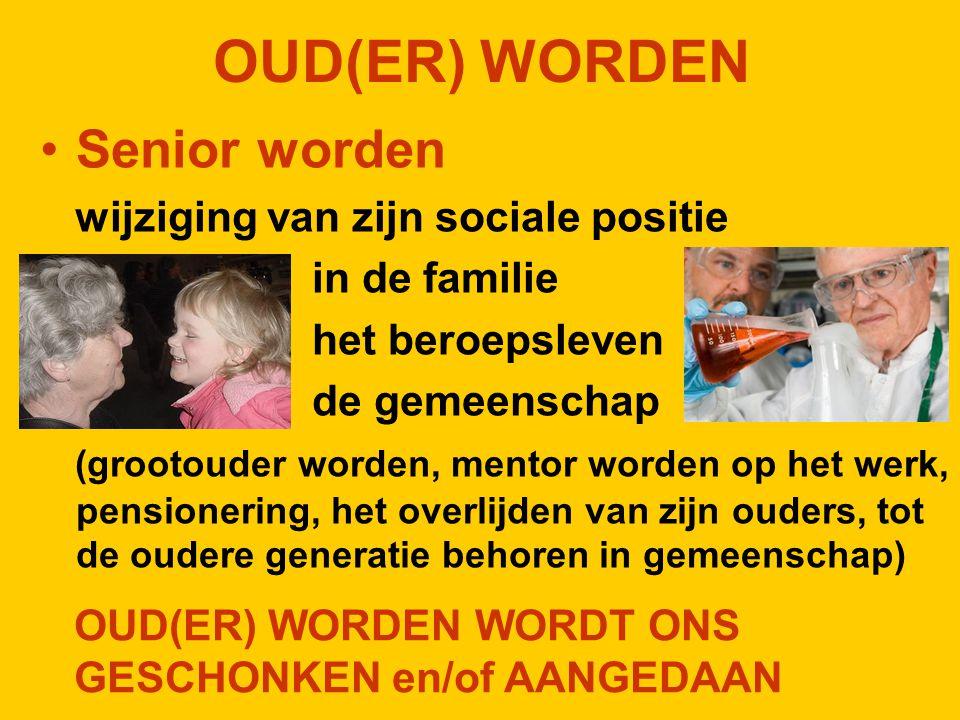 OUD(ER) WORDEN Senior worden wijziging van zijn sociale positie in de familie het beroepsleven de gemeenschap (grootouder worden, mentor worden op het