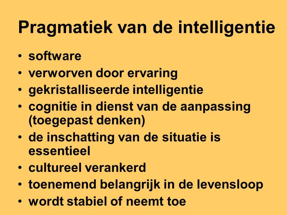 Pragmatiek van de intelligentie software verworven door ervaring gekristalliseerde intelligentie cognitie in dienst van de aanpassing (toegepast denke