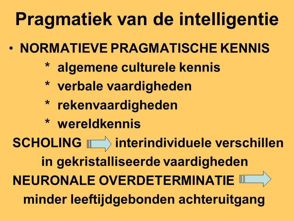 Pragmatiek van de intelligentie NORMATIEVE PRAGMATISCHE KENNIS * algemene culturele kennis * verbale vaardigheden * rekenvaardigheden * wereldkennis S