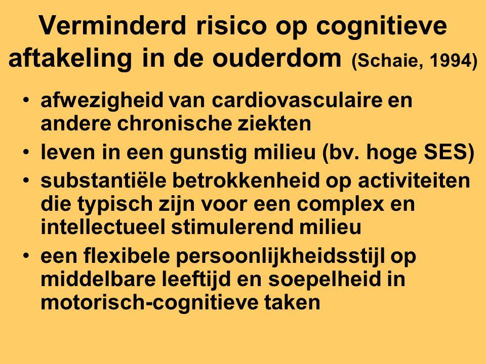 Verminderd risico op cognitieve aftakeling in de ouderdom (Schaie, 1994) afwezigheid van cardiovasculaire en andere chronische ziekten leven in een gu