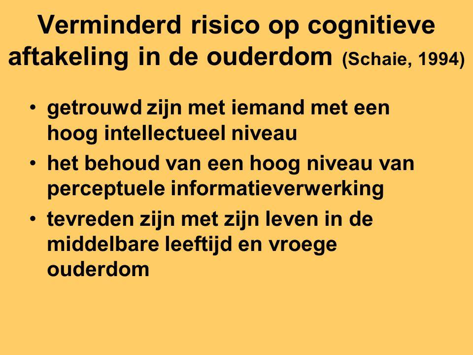 Verminderd risico op cognitieve aftakeling in de ouderdom (Schaie, 1994) getrouwd zijn met iemand met een hoog intellectueel niveau het behoud van een