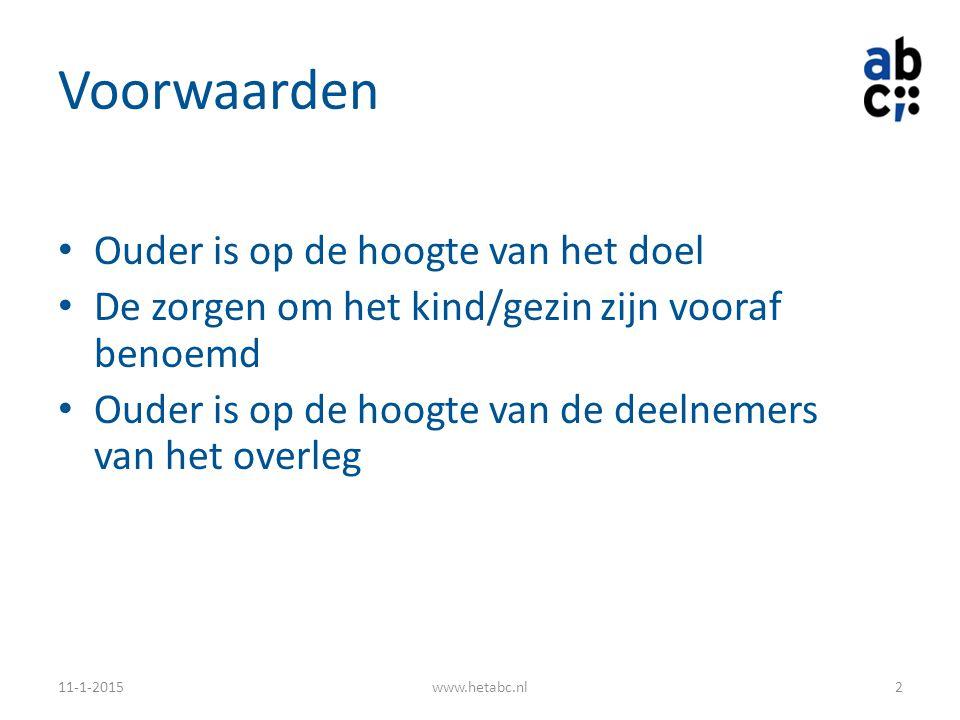 Voorwaarden Ouder is op de hoogte van het doel De zorgen om het kind/gezin zijn vooraf benoemd Ouder is op de hoogte van de deelnemers van het overleg 11-1-2015www.hetabc.nl2