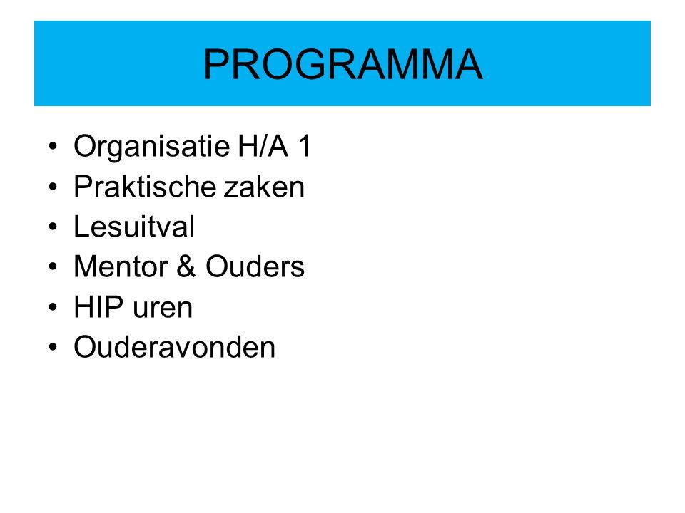 PROGRAMMA Organisatie H/A 1 Praktische zaken Lesuitval Mentor & Ouders HIP uren Ouderavonden