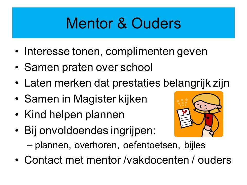 Mentor & Ouders Interesse tonen, complimenten geven Samen praten over school Laten merken dat prestaties belangrijk zijn Samen in Magister kijken Kind