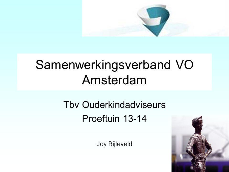 Samenwerkingsverband VO Amsterdam Tbv Ouderkindadviseurs Proeftuin 13-14 Joy Bijleveld 1