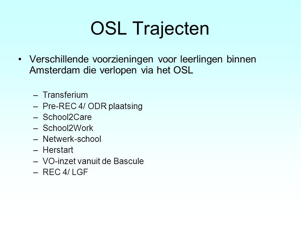 OSL Trajecten Verschillende voorzieningen voor leerlingen binnen Amsterdam die verlopen via het OSL –Transferium –Pre-REC 4/ ODR plaatsing –School2Car