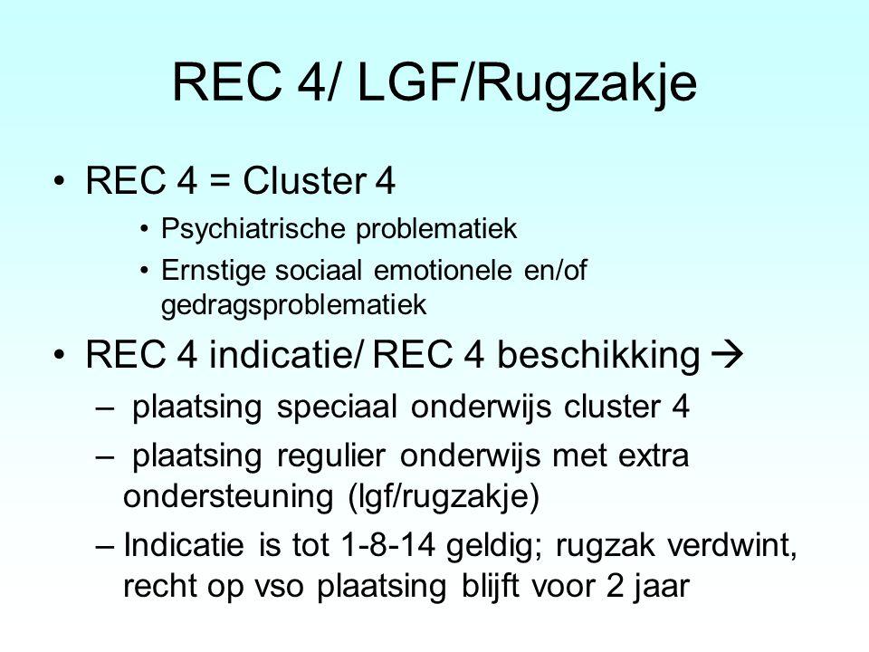 REC 4/ LGF/Rugzakje REC 4 = Cluster 4 Psychiatrische problematiek Ernstige sociaal emotionele en/of gedragsproblematiek REC 4 indicatie/ REC 4 beschik