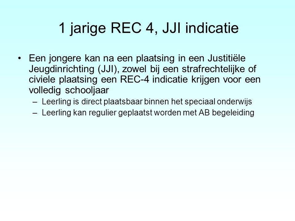 1 jarige REC 4, JJI indicatie Een jongere kan na een plaatsing in een Justitiële Jeugdinrichting (JJI), zowel bij een strafrechtelijke of civiele plaa