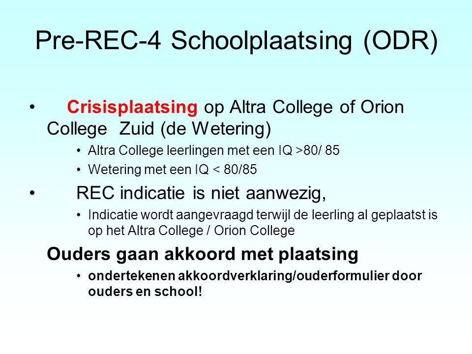 Pre-REC-4 Schoolplaatsing (ODR) Crisisplaatsing op Altra College of Orion College Zuid (de Wetering) Altra College leerlingen met een IQ >80/ 85 Weter