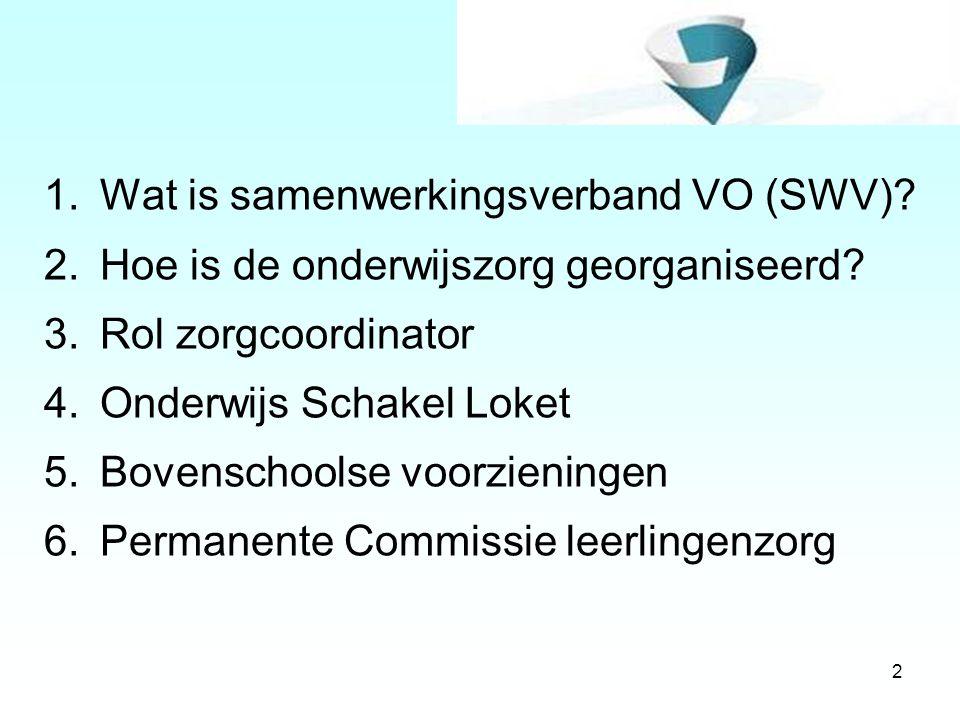 2 1.Wat is samenwerkingsverband VO (SWV)? 2.Hoe is de onderwijszorg georganiseerd? 3.Rol zorgcoordinator 4.Onderwijs Schakel Loket 5.Bovenschoolse voo