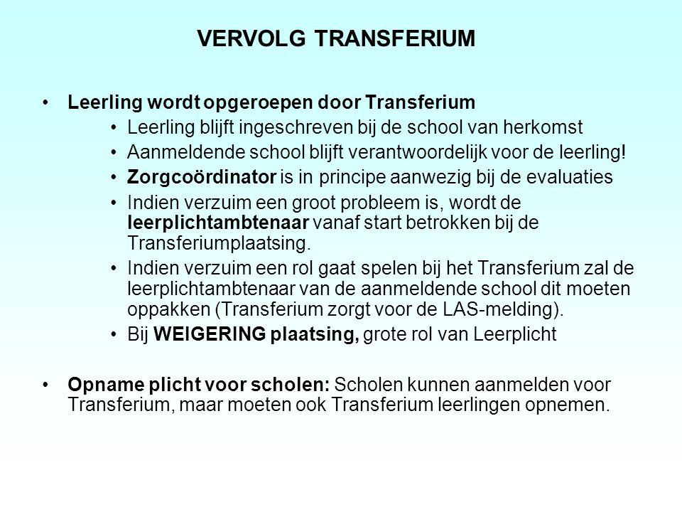VERVOLG TRANSFERIUM Leerling wordt opgeroepen door Transferium Leerling blijft ingeschreven bij de school van herkomst Aanmeldende school blijft veran