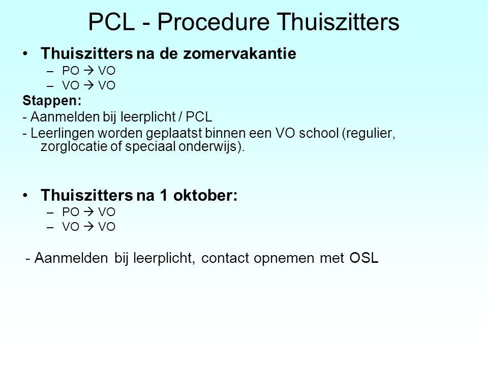 PCL - Procedure Thuiszitters Thuiszitters na de zomervakantie –PO  VO –VO  VO Stappen: - Aanmelden bij leerplicht / PCL - Leerlingen worden geplaats
