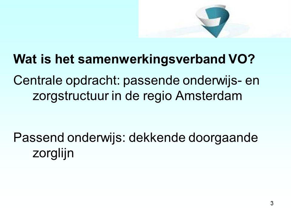 3 Wat is het samenwerkingsverband VO? Centrale opdracht: passende onderwijs- en zorgstructuur in de regio Amsterdam Passend onderwijs: dekkende doorga