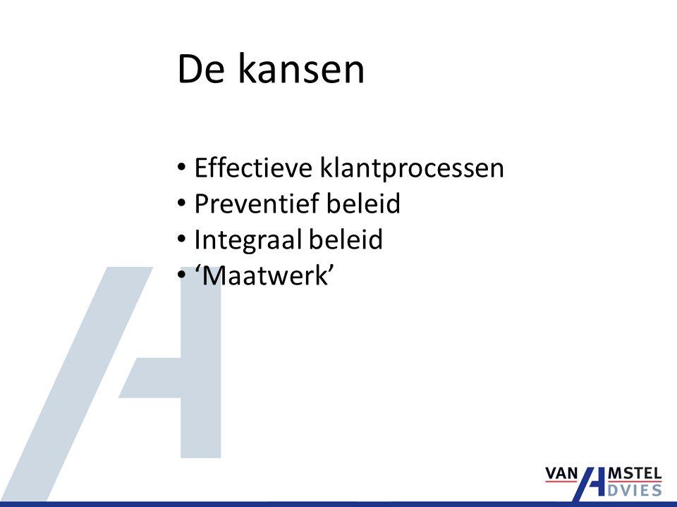 De kansen Effectieve klantprocessen Preventief beleid Integraal beleid 'Maatwerk'