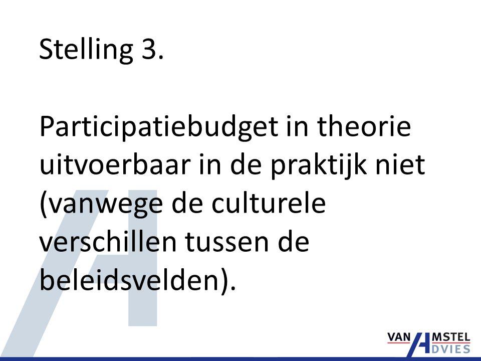 Stelling 3. Participatiebudget in theorie uitvoerbaar in de praktijk niet (vanwege de culturele verschillen tussen de beleidsvelden).