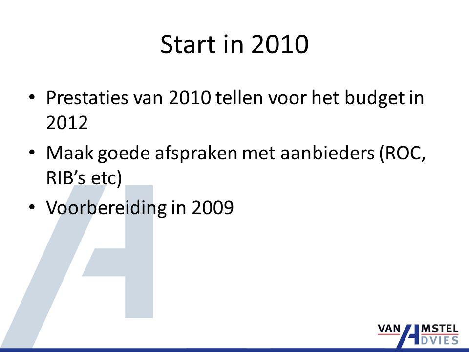 Start in 2010 Prestaties van 2010 tellen voor het budget in 2012 Maak goede afspraken met aanbieders (ROC, RIB's etc) Voorbereiding in 2009