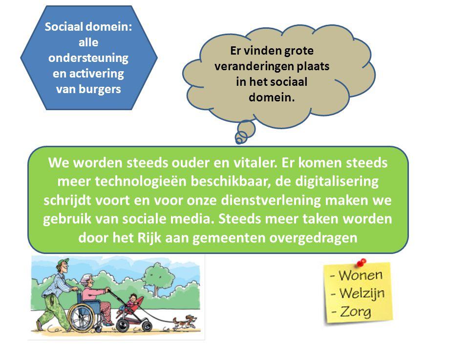 Sociaal domein: alle ondersteuning en activering van burgers Er vinden grote veranderingen plaats in het sociaal domein. We worden steeds ouder en vit
