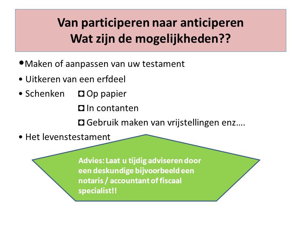 Van participeren naar anticiperen Wat zijn de mogelijkheden?? Maken of aanpassen van uw testament Uitkeren van een erfdeel Schenken ◘ Op papier ◘ In c