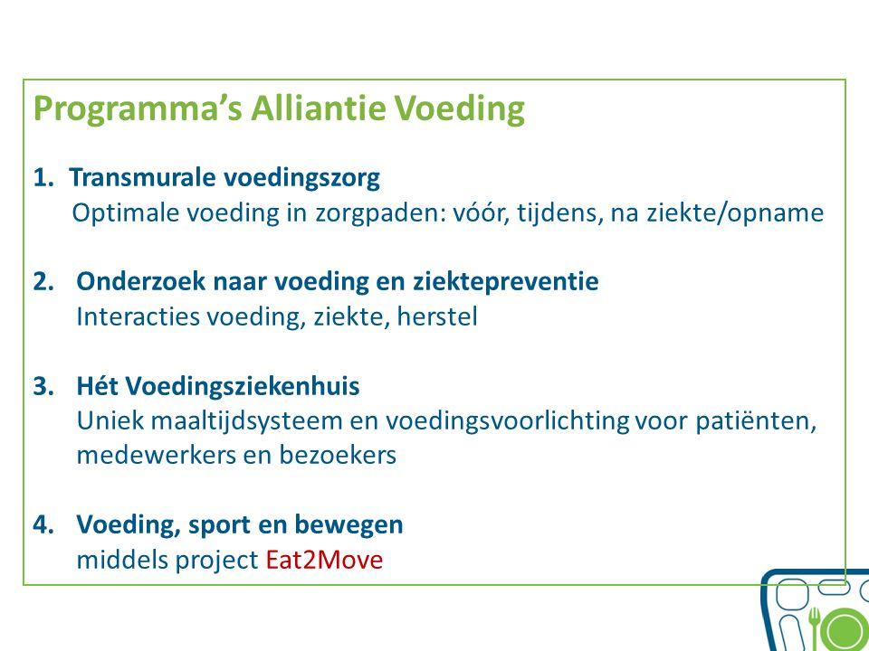 Programma's Alliantie Voeding 1.Transmurale voedingszorg Optimale voeding in zorgpaden: vóór, tijdens, na ziekte/opname 2.Onderzoek naar voeding en zi