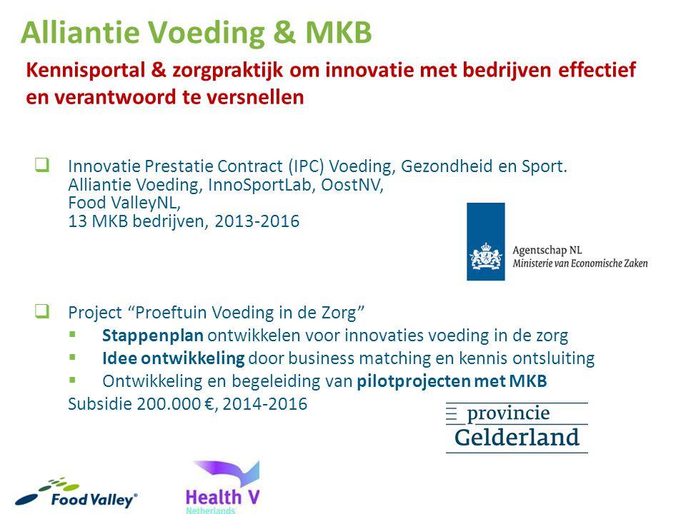 Alliantie Voeding & MKB  Innovatie Prestatie Contract (IPC) Voeding, Gezondheid en Sport. Alliantie Voeding, InnoSportLab, OostNV, Food ValleyNL, 13