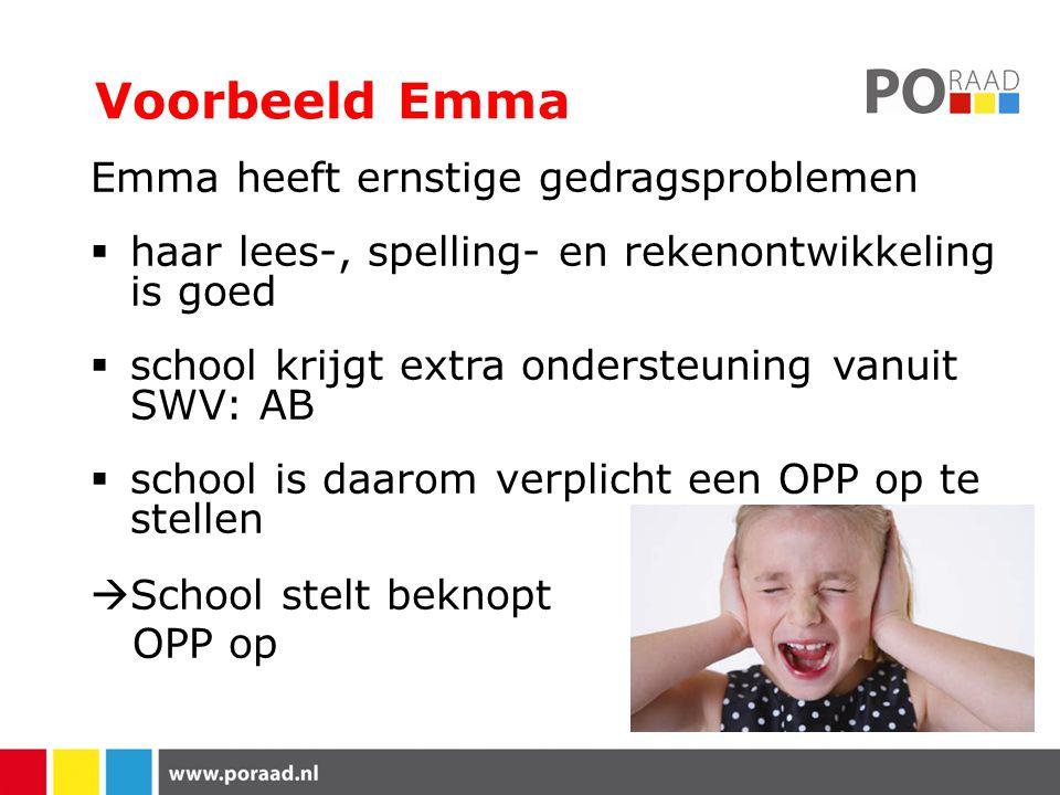 Voorbeeld Emma Emma heeft ernstige gedragsproblemen  haar lees-, spelling- en rekenontwikkeling is goed  school krijgt extra ondersteuning vanuit SWV: AB  school is daarom verplicht een OPP op te stellen  School stelt beknopt OPP op