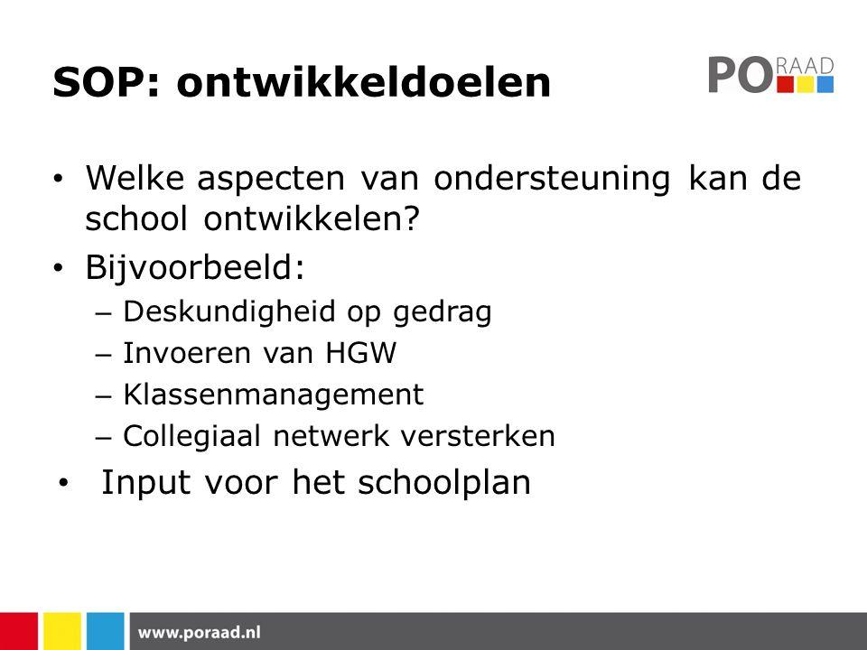 SOP: ontwikkeldoelen Welke aspecten van ondersteuning kan de school ontwikkelen? Bijvoorbeeld: – Deskundigheid op gedrag – Invoeren van HGW – Klassenm