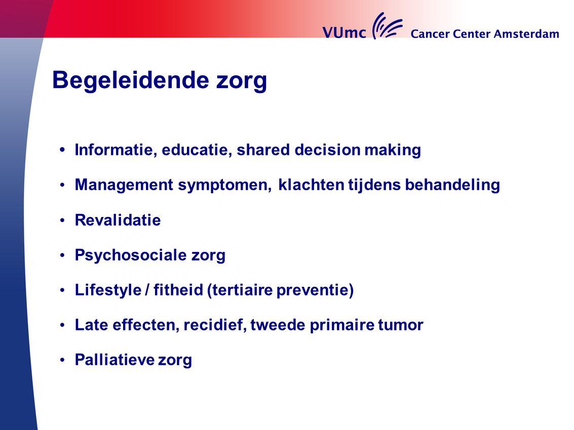 Begeleidende zorg Informatie, educatie, shared decision making Management symptomen, klachten tijdens behandeling Revalidatie Psychosociale zorg Lifes
