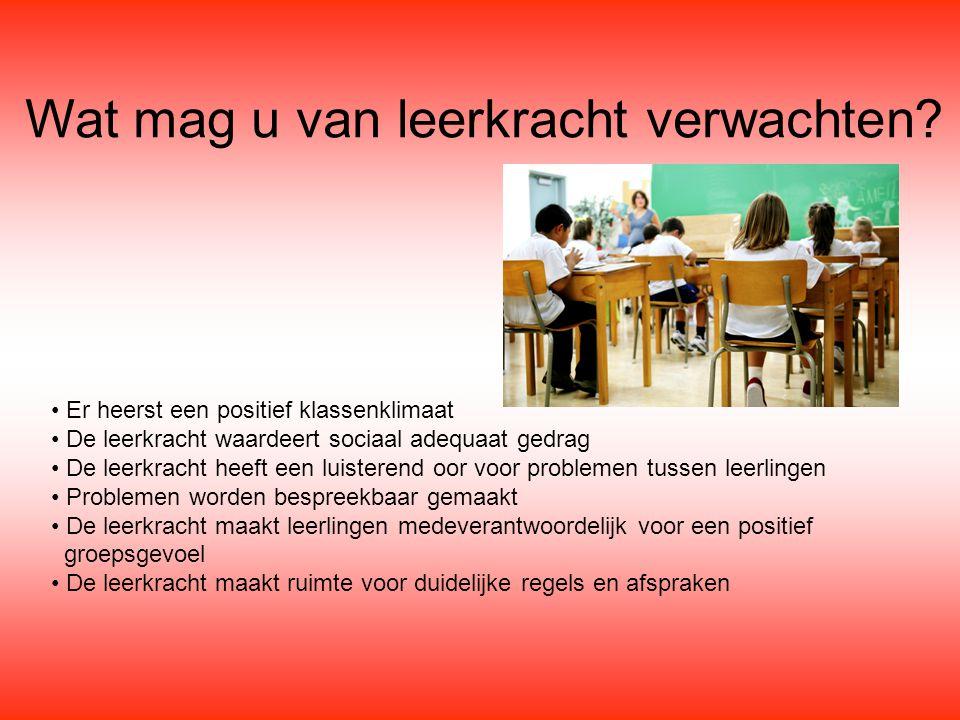 Wat mag u van leerkracht verwachten? Er heerst een positief klassenklimaat De leerkracht waardeert sociaal adequaat gedrag De leerkracht heeft een lui