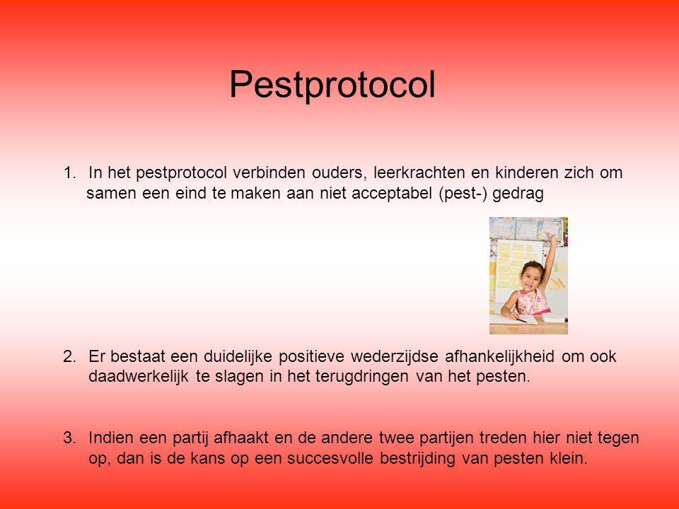 Pestprotocol 1.In het pestprotocol verbinden ouders, leerkrachten en kinderen zich om samen een eind te maken aan niet acceptabel (pest-) gedrag 2.Er bestaat een duidelijke positieve wederzijdse afhankelijkheid om ook daadwerkelijk te slagen in het terugdringen van het pesten.