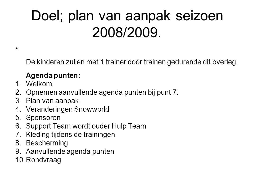 Doel; plan van aanpak seizoen 2008/2009. De kinderen zullen met 1 trainer door trainen gedurende dit overleg. Agenda punten: 1.Welkom 2.Opnemen aanvul