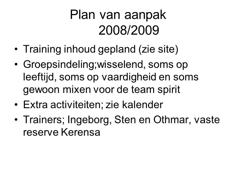 Plan van aanpak 2008/2009 Training inhoud gepland (zie site) Groepsindeling;wisselend, soms op leeftijd, soms op vaardigheid en soms gewoon mixen voor