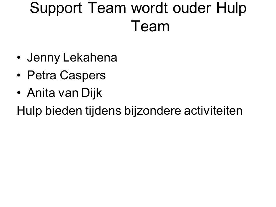 Support Team wordt ouder Hulp Team Jenny Lekahena Petra Caspers Anita van Dijk Hulp bieden tijdens bijzondere activiteiten