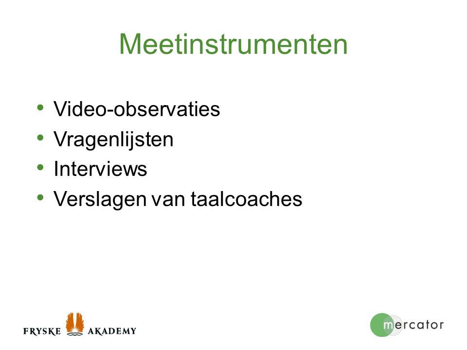 Meetinstrumenten Video-observaties Vragenlijsten Interviews Verslagen van taalcoaches