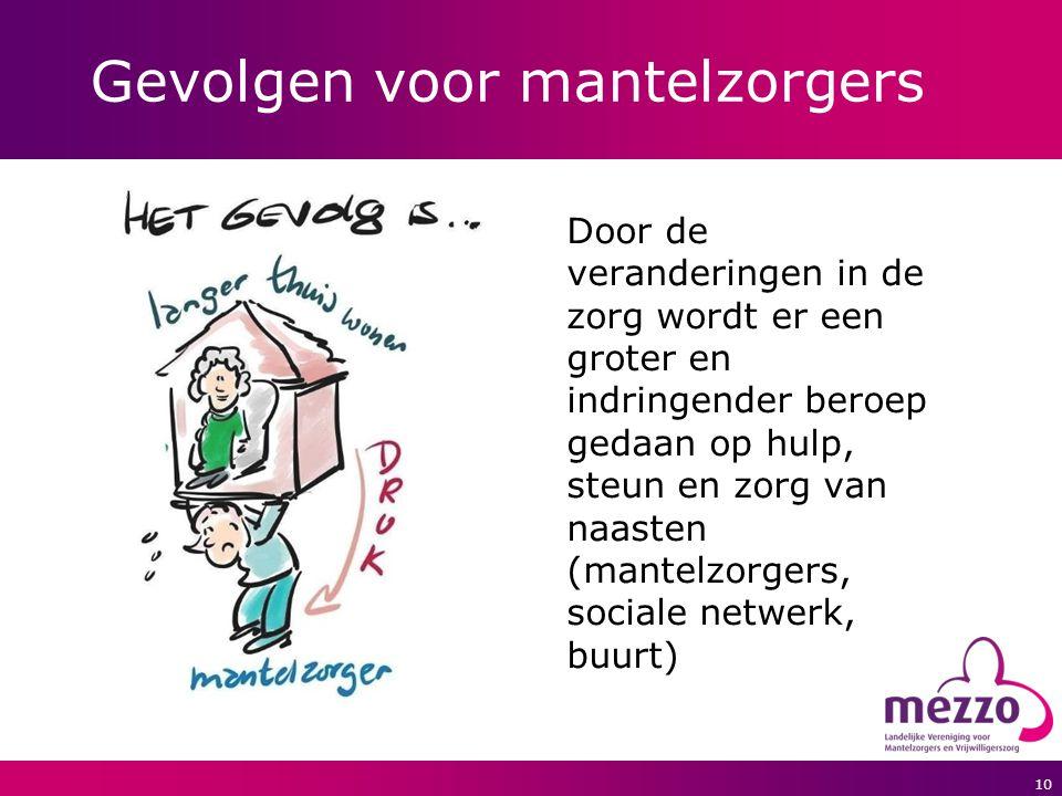 10 Gevolgen voor mantelzorgers Door de veranderingen in de zorg wordt er een groter en indringender beroep gedaan op hulp, steun en zorg van naasten (