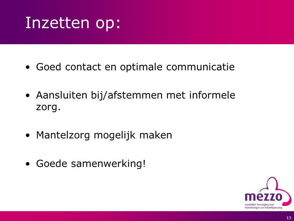 13 Inzetten op: Goed contact en optimale communicatie Aansluiten bij/afstemmen met informele zorg. Mantelzorg mogelijk maken Goede samenwerking!