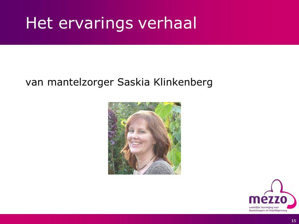 15 Het ervarings verhaal van mantelzorger Saskia Klinkenberg