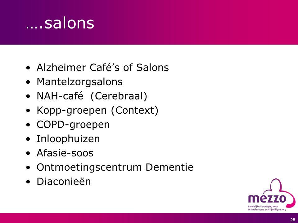 28 ….salons Alzheimer Café's of Salons Mantelzorgsalons NAH-café (Cerebraal) Kopp-groepen (Context) COPD-groepen Inloophuizen Afasie-soos Ontmoetingsc