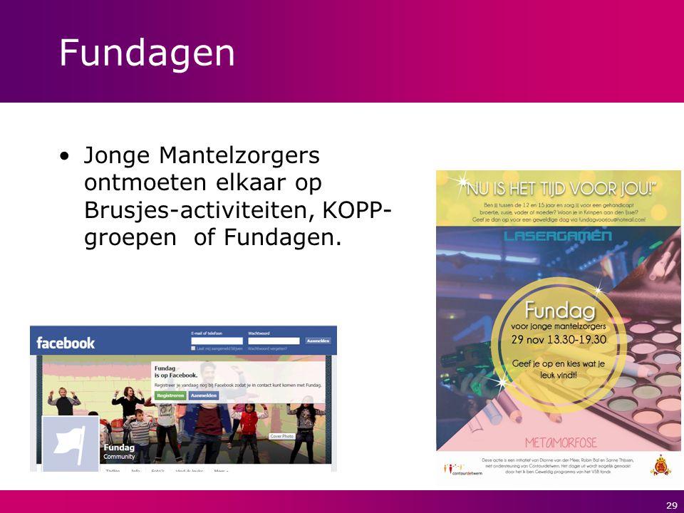 29 Fundagen Jonge Mantelzorgers ontmoeten elkaar op Brusjes-activiteiten, KOPP- groepen of Fundagen.