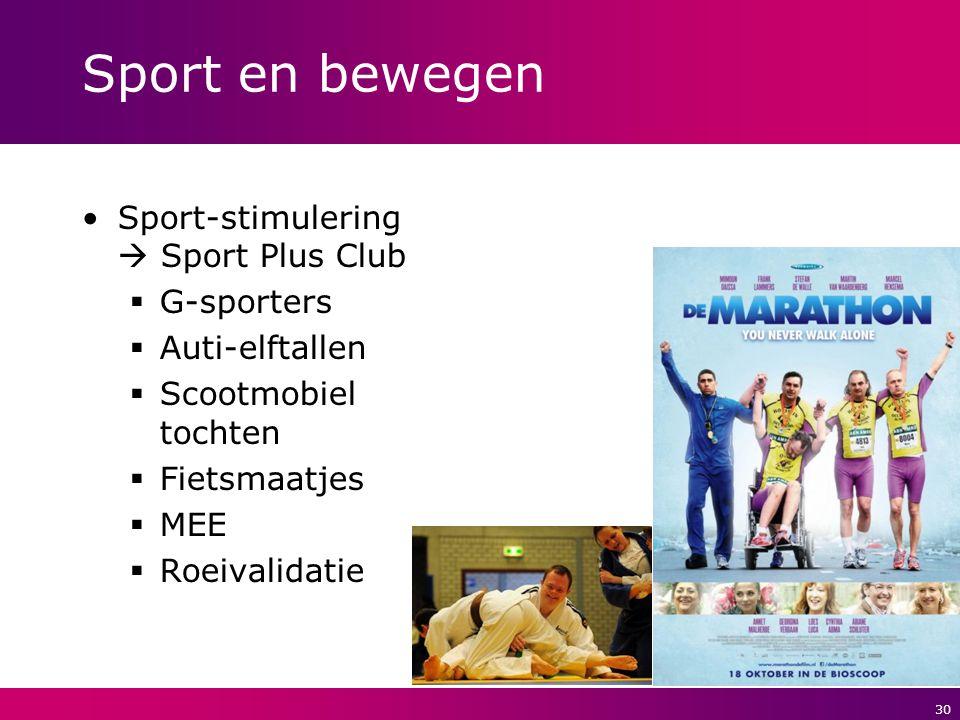 30 Sport en bewegen Sport-stimulering  Sport Plus Club  G-sporters  Auti-elftallen  Scootmobiel tochten  Fietsmaatjes  MEE  Roeivalidatie