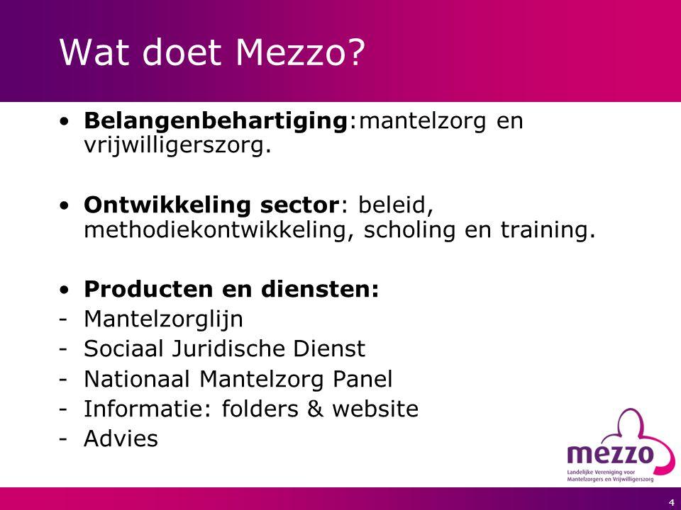 4 Wat doet Mezzo? Belangenbehartiging:mantelzorg en vrijwilligerszorg. Ontwikkeling sector: beleid, methodiekontwikkeling, scholing en training. Produ