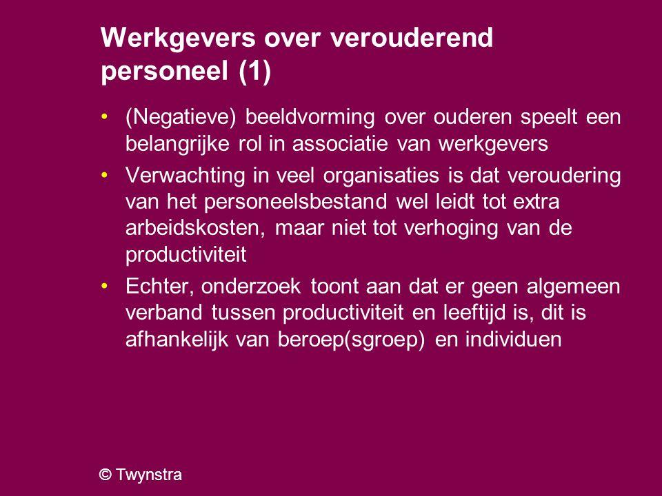 © Twynstra Werkgevers over verouderend personeel (2) Werkgevers geven als associatie met oudere medewerkers aan: Stijgende arbeidskosten (echter, mogelijke overschatting i.v.m.