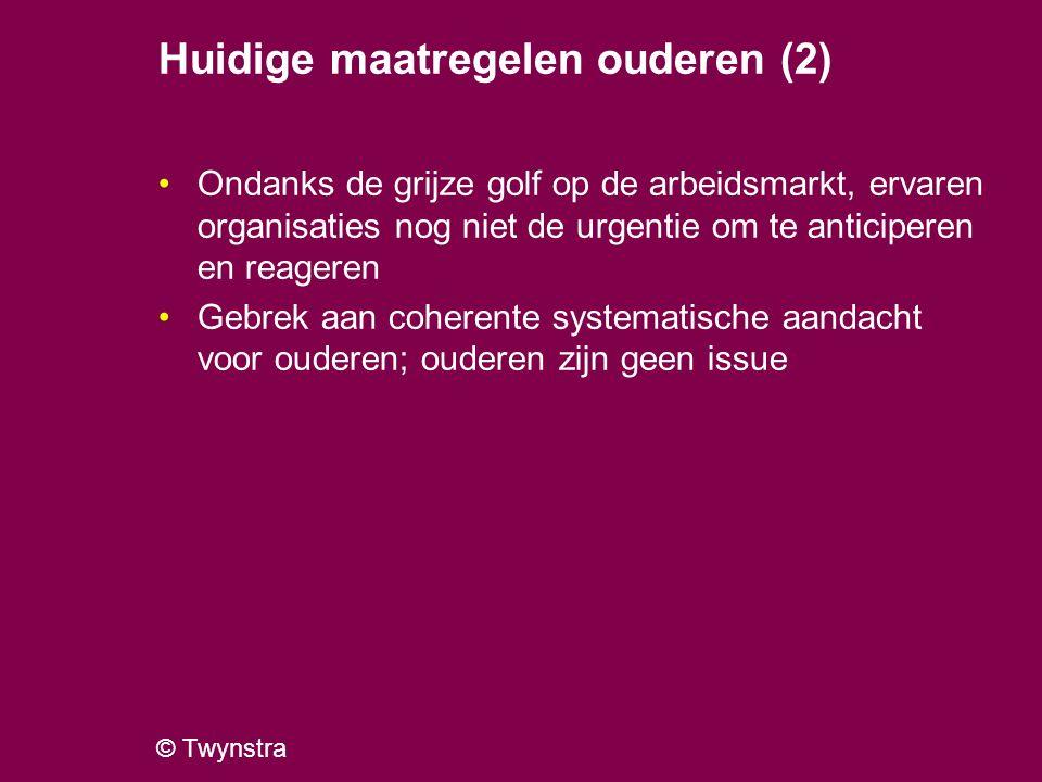 © Twynstra Huidige maatregelen ouderen (2) Ondanks de grijze golf op de arbeidsmarkt, ervaren organisaties nog niet de urgentie om te anticiperen en r